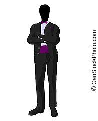 African American Wedding Groom in a Tuxedo Silhouette -...