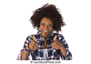 African american with thumbs up