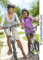 African American Woman and Girl, Mother & Daughter, Cycling