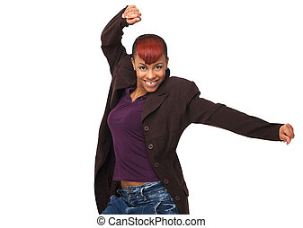 African American Woman Arms Up