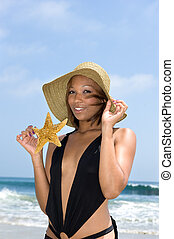 African American woman at beach