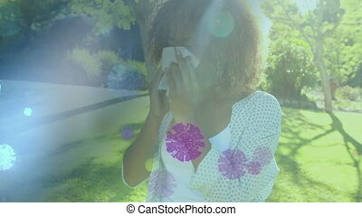 African American woman blowing her nose over coronavirus ...