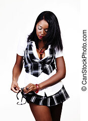 African American Woman Cleaning Glasses On Short Plaid Skirt