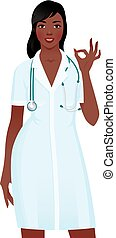African American Woman doctor in medical uniform showing sign okay.eps