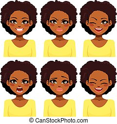 African American woman with different face expressions