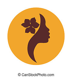 African American woman face icon - African American woman...