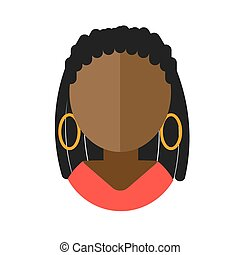 African-American woman flat icon avatar