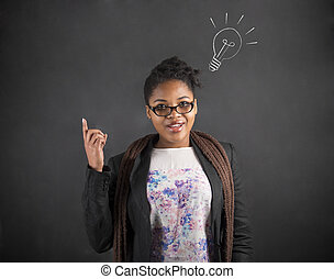 African American woman good idea with lightbulb - South ...