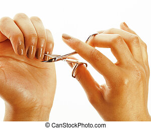 african american woman hands making no qualified manicure,...