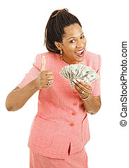 African-American Woman Holding Cash - Beautiful young woman...