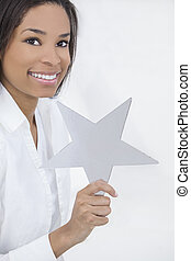 African American Woman Holding SIlver Star