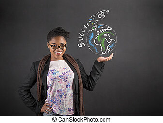 African American woman holding the world success rocket in her hand