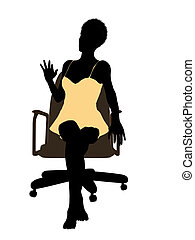 African American Woman In A Night Gown Sitting In An Office...