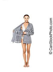 african american woman in bathrobe