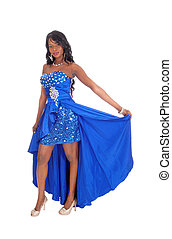 African American woman in blue dress.