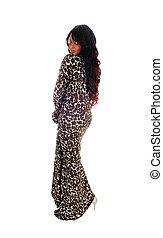 African American woman in dress.