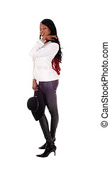 African American woman in leather tights.
