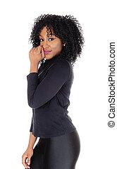 African American woman in profile.