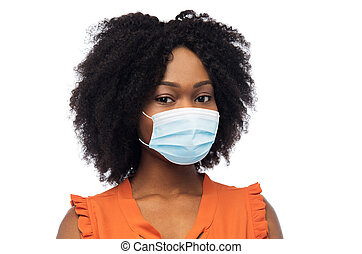 african american woman in protective medical mask - health, ...