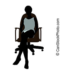 African American Woman In Undewear Sitting In An Office...
