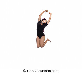 African American Woman Jumping In Black Leotard