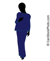 African American Woman Lingerie Silhouette - African...
