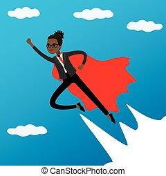 African american Woman looking like Super hero flying in sky