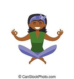 African-american woman meditating in lotus pose.