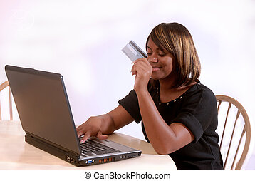 African-American woman on the computer
