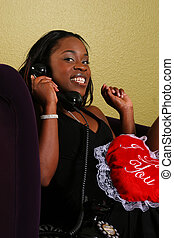African American Woman On The Phone Close Up 2