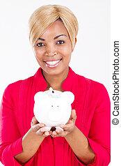 african american woman piggy bank