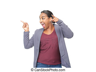 African american woman pointing fingers