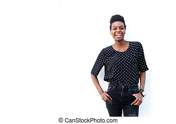 African american woman posing against white background