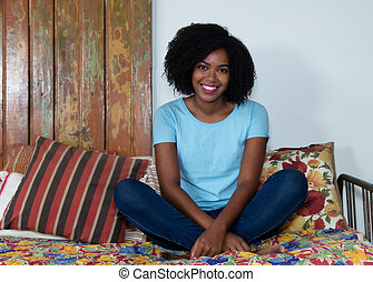 African american woman relaxing indoor at home