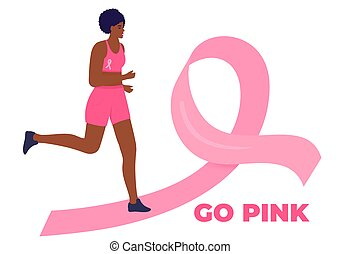 African American woman running marathon on a pink ribbon road in support of breast cancer patients. October Awareness Month on Women's Health