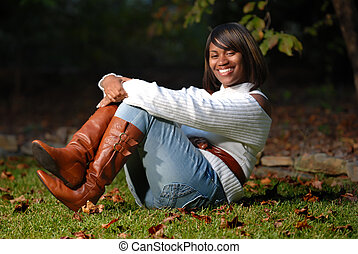 African-American woman sitting