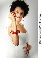 African american woman squeezing