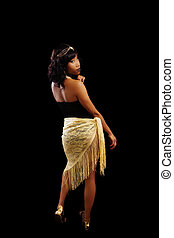 African American Woman Standing Black And Gold Outfit