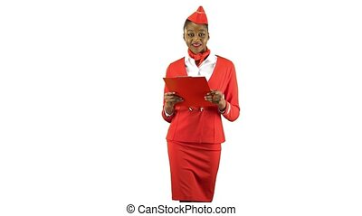 African american woman steps with a red folder in her hands . Alpha channel