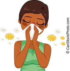 Young sick african american woman ill suffering spring allergy using tissue on nose