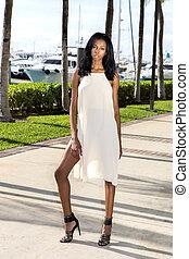 African american woman walking