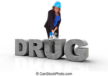 African American woman wearing a protection helmet braking a 3d drug text, isolated on white background - Black people