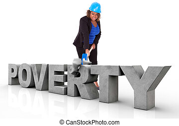 African American woman wearing a protection helmet braking a 3d poverty text, isolated on white background  - Black people