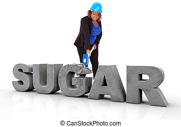 African American woman wearing a protection helmet braking a 3d sugar text, isolated on white background - Black people