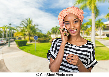 African American Woman with a mobile phone
