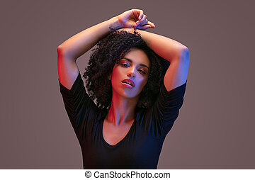 African american woman with afro hairstyle.