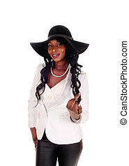 African American woman with black hat.