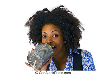 African american woman with can phone