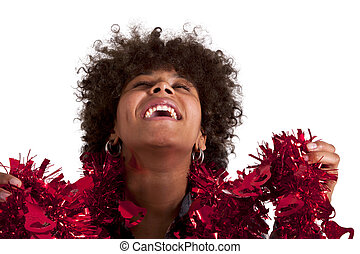 african american woman with christmas ornaments