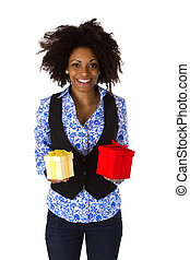 African american woman with gift boxes